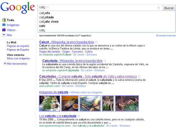 Calçots en Google