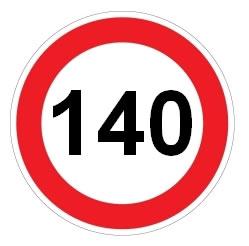 Señal de velocidad máxima 140 km/h